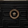Versace, a black quilted leather handbag.