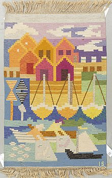 """Ingegerd Silow, a textile, """"Fiskeläge"""", flat weave, ca 124,5 x 81-83,5 cm, signed IS."""