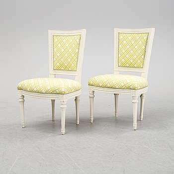 A pair of Gustavian chairs, end of the 18th Century.