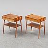 A pair of teak bedside tables, ab carlströms & co möbelfabrik, 1950's/60's.