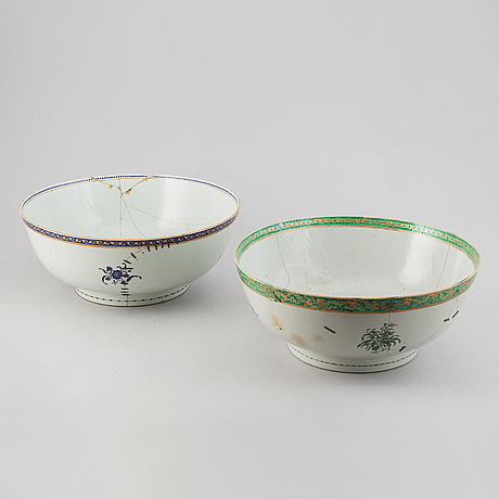 Two large famille rose and gilt punch bowls, qing dynasty, 18th century.