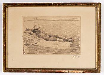 Anders Zorn, etsning, 1913-14, signerad med blyerts.