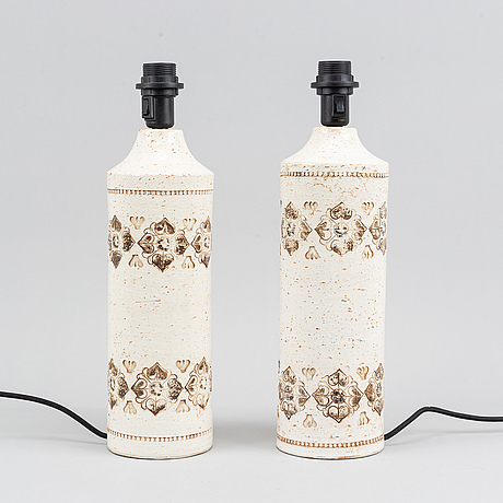 A pair of stoneware table lamps, bitossi for bergboms.