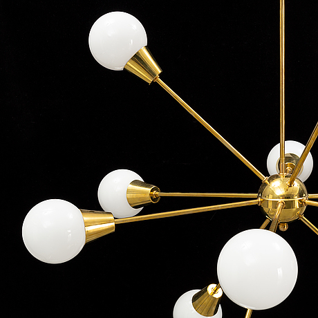 A brass and glass ceiling light, 21st century.