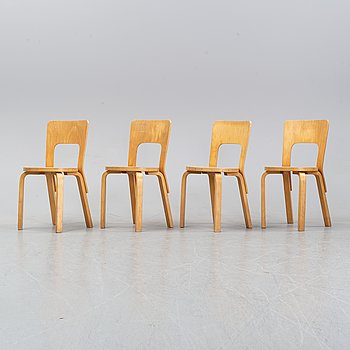 Alvar Aalto, a set of four birch chairs, model 66, Artek, Finland.