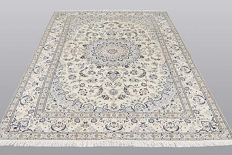 A carpet, nain part silk so called 9 laa, ca  295 x 197 cm.