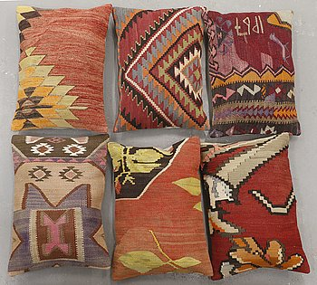 Six kilim cushions, approx, Ca 60 x 40 cm.