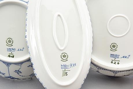 Royal copenhagen musselmalet helblonde 3 pcs, porcelain denmark.