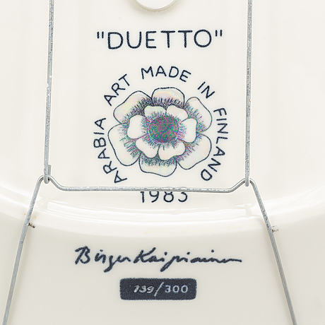 A ceramic plate, 'duetto', by birger kaipiainen, arabia art 1983. signed and numbered 139/300.