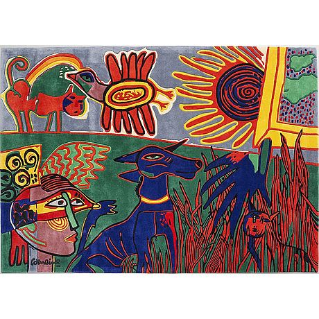 Beverloo corneille, efter, matta, handtuftad ull i relief ca 200 x 280 cm, numrerad 32/125.