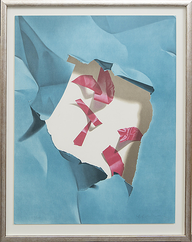 Yrjö edelmann, lithograph in colours, signed and marked 128/150.
