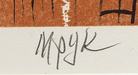 Madeleine pyk, lithograph in colours, signed 90/275.