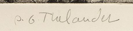 Pg thelander, färglitografi, signerad samt èpreuve d'artiste.