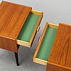 A pair of swedish teak bedside tables, 1960's.