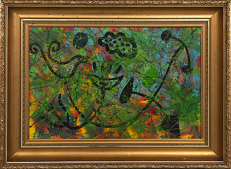 """Benno arzt, acrylic on canvas, """"fågelbadet"""", signed, dated 013."""