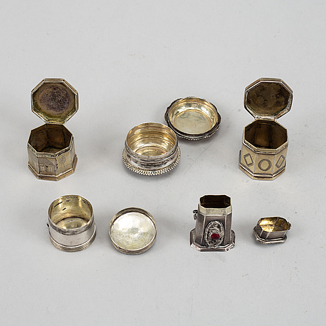 Svampdosor, 4 st, silver, 1800-tal. bl a johan wilhelm hultgren, ronneby 1892.