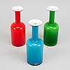 Otto brauer, three glass vases with glass balls by michael bang. holmegaard 1960s.