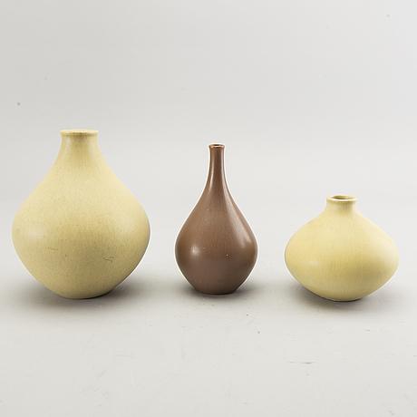 Stig lindberg, vaser 4 st. gustavsberg olika årtal, s.k. drejargods och gustavsbergs studio.
