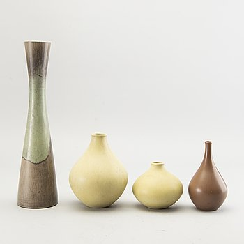 "Stig Lindberg, a set of four vases from Gustavsberg different years, ""drejargods"" and Gustavsberg studio, Sweden."