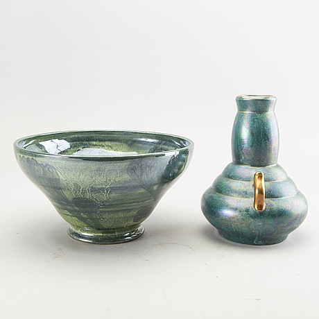 Josef ekberg, vase and a bowl, signed, gustavsberg, sweden 1920's.