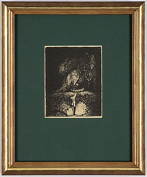 """John Bauer, lithopgraph, from """"Troll"""", 1915. Signed B in the print."""