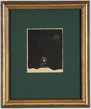 """John Bauer, lithograph from """"Troll"""", signed in the print."""