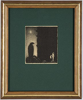 """John Bauer, lithograph, from """"Troll"""", 1915. Signed B in the print."""