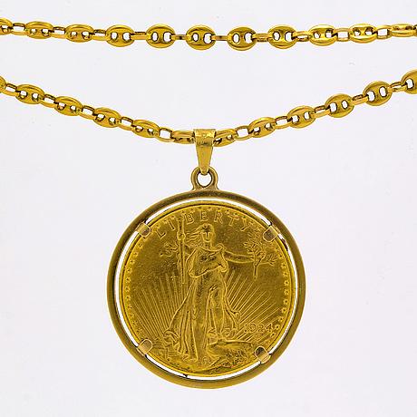 Hänge med kedja (gucci-länk) 18k guld med ett 20 dollarmynt monterat som hänge, 66,5 g.