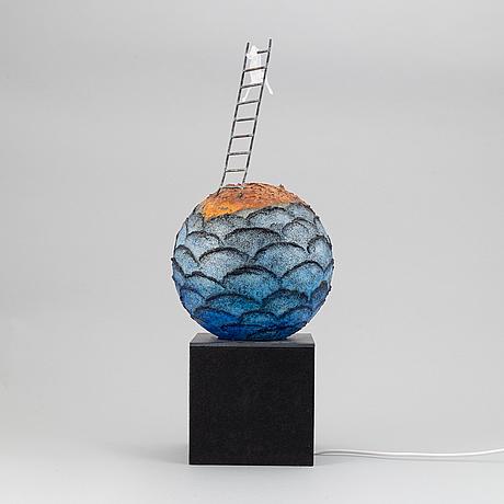 A unique kjell engman glass sculpture, signed.