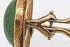 Örhängen 18k guld med jadeite, höjd ca 2 cm stift och clips.