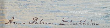 Anna palm, akvarell, signerad.