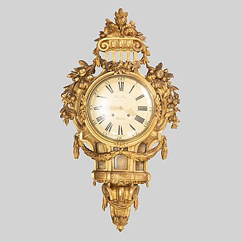 A Gustavian wall clock by Claes Berg (clockmaker in Stockholm 1762- 1782).