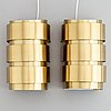 """Hans-agne jakobsson, pair of wall lights, """"v155/m"""" for markaryd sweden, 1960's."""