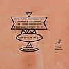Stig lindberg, an earthenware wall plaque, 21/40, gustavsberg studio.