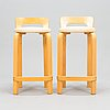 Alvar aalto, alvar aalto, a pair of k65 bar stools, artek, finland, late 20th century.