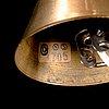 A 5-light brass pendant ceiling lamp, latter half of the 20th century.