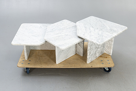 A three pcs marble coffee table later part of the 20th century.