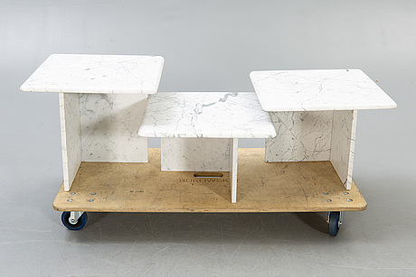 A three pcs marble coffee table/side table later part of the 20th century.