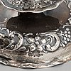 Tenn & silver ab, ljusstakar, ett par, silver, barockstil, göteborg 1948.