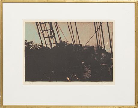 Ola billgren, color lithograph, signed -82 proof.