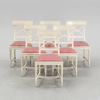 A set of six Gustavian style chairs from Åmells, end of the 20th Century.