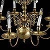A brass baroque style chandelier.
