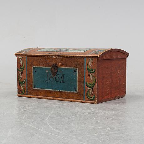 Brudkista, allmoge, dalarna, daterad 1864.