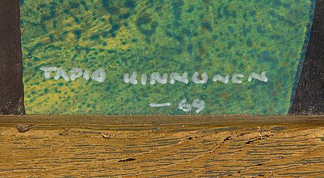 Tapio kinnunen, gouache och bladteknik på papper, signerad och daterad -69.