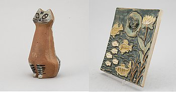 Two Swedish stoneware pieces, including a figurine by Lisa Larson, second half of the 20th Century.