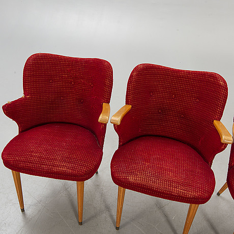 Chairs / armchairs, 4 pcs, 1940s-50s.