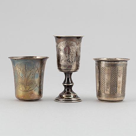 Bägare, 3 st, silver. bl a moskva, ryssland 1893.