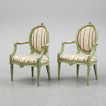 A pair of Gustavian style armchairs, 19/20th Century.