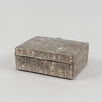 A metal box with cover, 20th century.