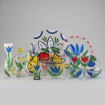 A glass service, 'Tulipa' 56 pcs, by Ulrica Hydman-Vallien, Kosta Boda, signed.